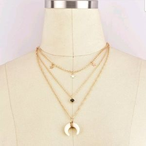 Jewelry - Boutique | Gold Layered Star and Bullhorn Necklace
